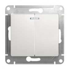 Механизм выключателя Schneider Electric Glossa GSL000153 двухклавишный с индикатором белый