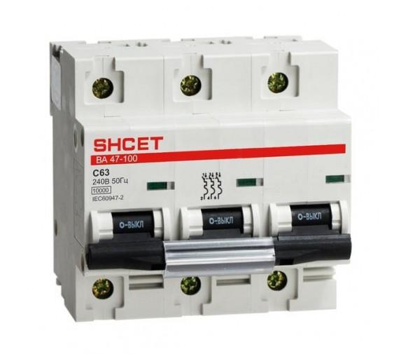 Автоматический выключатель IEK ВА47-100 3Р 80А C