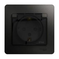 Розетка Schneider Electric Glossa GSL000748 одноместная с заземлением и защитными шторками с крышкой антрацит