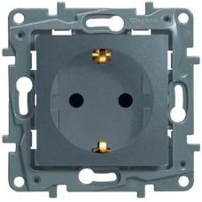 Механизм розетки Legrand Etika 672422 одноместный с заземлением и защитными шторками алюминий