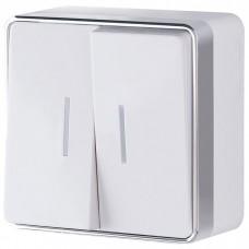Выключатель накладной Werkel Gallant WL15-03-03 двухклавишный с индикатором белый