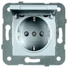 Механизм розетки Panasonic Karre Plus WKTT02102SL-RES с заземлением и крышкой серебро