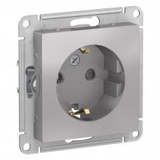Механизм розетки Schneider Electric AtlasDesign ATN000345 одноместный с заземлением и защитными шторками алюминий