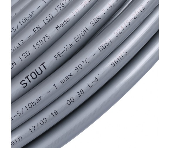 Труба Stout PEX-a SPX-0001-001622 16х2,2 мм серая бухта 100 м