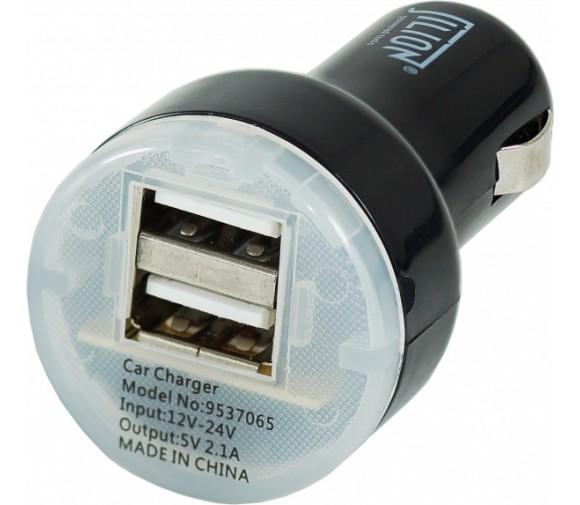 Автомобильный USB-адаптер 2USB 2100мА, чёрный