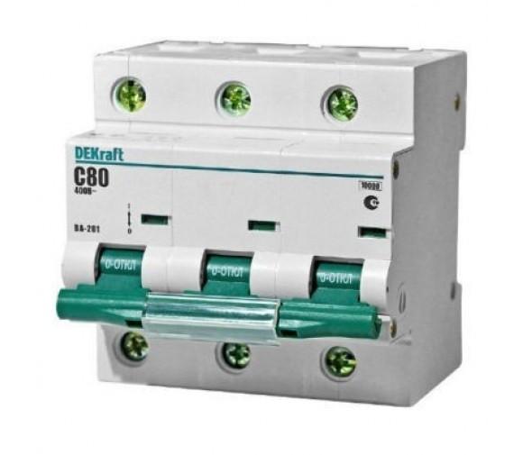 Автоматический выключатель DEKraft ВА-201 3п C 80А 10кА