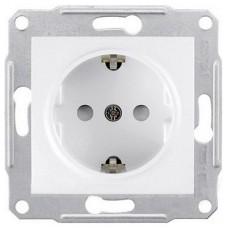 Механизм розетки Schneider Electric Sedna SDN3000121 одноместный с заземлением и защитными шторками белый
