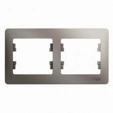 Рамка двухместная Schneider Electric Glossa GSL001202 платина
