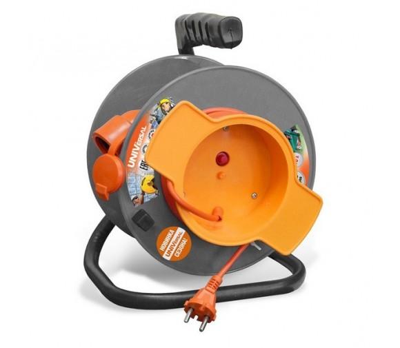 Удлинитель силовой на катушке UNIVersal У10-028 9633260 50 м с термовыключателем 1 розетка с защитной крышкой без заземления ПВС 2х0,75 1300 Вт IP54