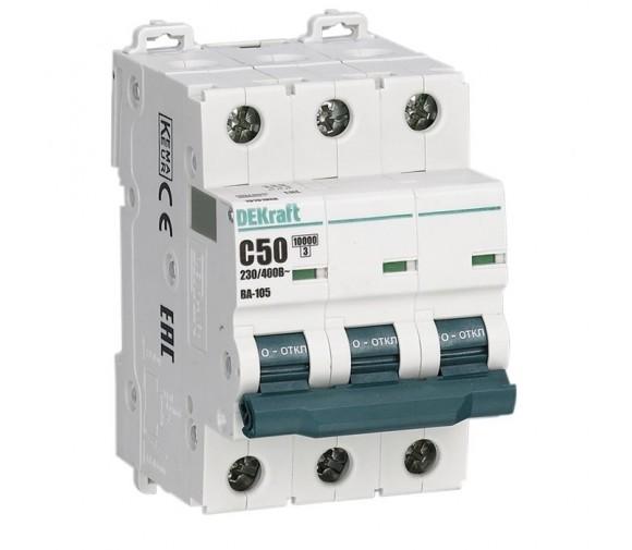 Автоматический выключатель DEKraft ВА-105 3п C 50А 10кА