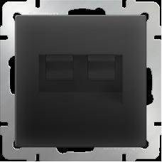 Механизм розетки компьютерной Werkel Ethernet WL08-RJ45+RJ45 двойной черный матовый