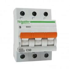 Автоматический выключатель Schneider Electric Домовой ВА63 3П C 50A 4,5кА
