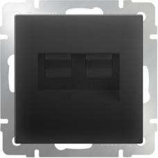 Механизм телефонно-компьютерной розетки Werkel WL08-RJ11+RJ45 черный матовый