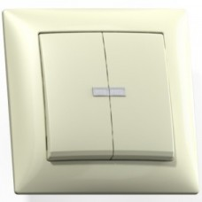 Выключатель Кунцево-Электро Селена С510-397 двухклавишный с подсветкой Слоновая кость
