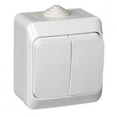 Выключатель Schneider Electric Этюд BA10-042B IP44 двухклавишный белый