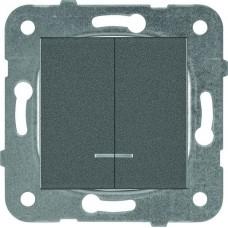 Механизм выключателя Panasonic Karre Plus WKTT00102DG-RES двухклавишный с подсветкой тёмно-серый