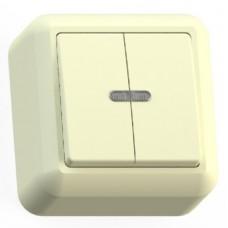 Выключатель Кунцево-Электро Оптима А510-387 двухклавишный с подсветкой Слоновая кость