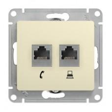 Механизм телефонно-компьютерной розетки Schneider Electric Glossa GSL000285 RJ11+RJ45 двойной бежевый