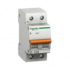Автоматический выключатель Schneider Electric Домовой ВА63 1P+N C 20A 4,5кА