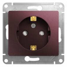 Механизм розетки Schneider Electric Glossa GSL001145 одноместный с заземлением и защитными шторками баклажановый
