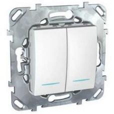 Schneider Electric Unica MGU5.0101.18NZD двухклавишный с индикатором белый