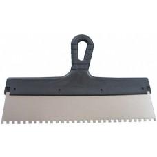 Шпатель Lux нержавеющая сталь 200 мм (зуб 6х6) (350мм гладкий)