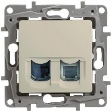 Механизм телефонно-компьютерной розетки Legrand Etika 672352 RJ11+RJ45 двойной Слоновая кость
