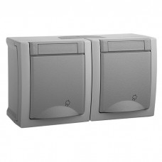 Блок Panasonic Pacific WPTC48002GR-RES две розетки с заземлением серый