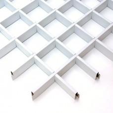 Потолок грильято Cesal CL Эконом белый 75х75х37 мм