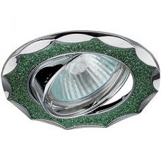 Эра Dk17 Ch/Sh Gr декор звезда со стеклянной крошкой Mr16 12В 50Вт хром/зеленый блеск 256390