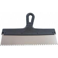 Шпатель Lux нержавеющая сталь 250 мм (зуб 10х10) (замят зуб)