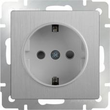 Механизм розетки Werkel WL09-SKG-01-IP20 одноместный с заземлением серебряный рифленый
