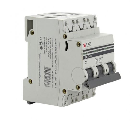 Автоматический выключатель EKF Proxima ВА 47-63 3P 4,5 кА 63А С