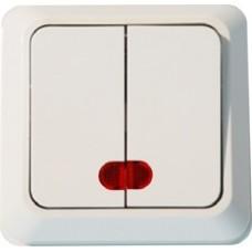Выключатель двухклавишный с подсветкой открытой установки белый
