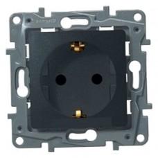 Механизм розетки Legrand Etika 672622 одноместный с заземлением и защитными шторками антрацит