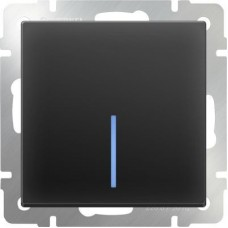 Механизм выключателя Werkel WL08-SW-1G-2W-LED одноклавишный проходной с подсветкой черный матовый