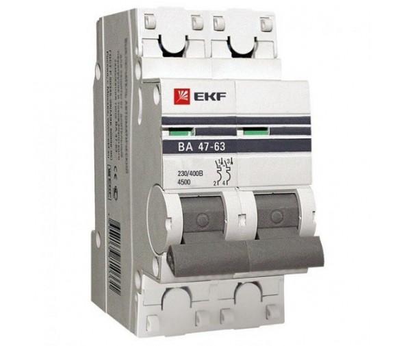 Автоматический выключатель EKF Proxima ВА 47-63 2P 4,5 кА 20А С