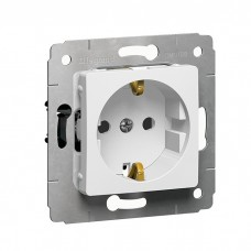 Механизм розетки Legrand Cariva 773621 одноместный с заземлением и защитными шторками белый