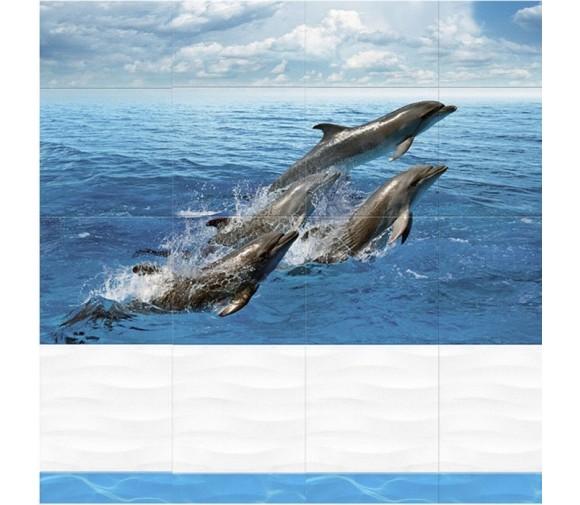 Стеновая панель ПВХ Кронапласт Unique Дельфины 2700х250 мм
