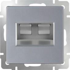 Механизм телефонно-компьютерной розетки Werkel WL06-RJ11+RJ45 серебряный