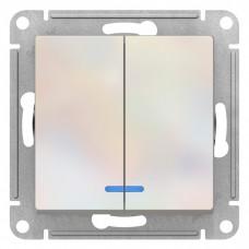Механизм выключателя Schneider Electric AtlasDesign ATN000453 двухклавишный с индикатором жемчуг