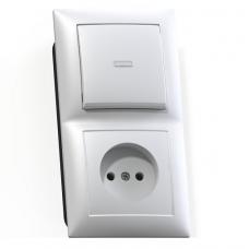 Блок розетки с выключателем Кунцево-Электро Селена БКВР-417 одноклавишный белый
