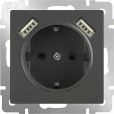 Werkel WL07-SKGS-USBx2-IP20 одноместный с USBх2 с заземлением и защитными шторкам серо-коричневый