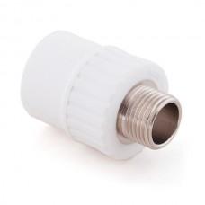 Муфта комбинированная PPR Remsan 448726 20 мм 1/2 дюйма с наружной резьбой белая