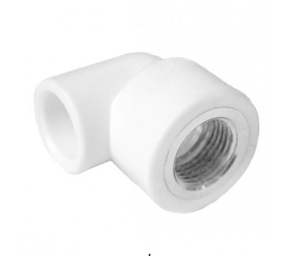 Угольник комбинированный PPRC FDplast 25 мм 1/2 дюйма с внутренней резьбой белый