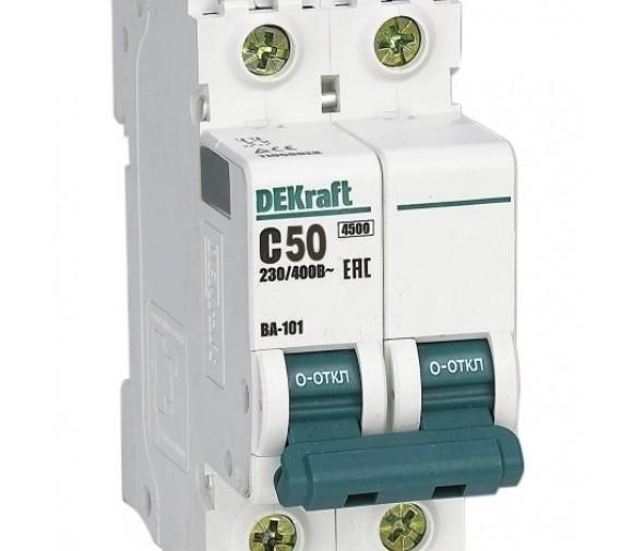 Автоматический выключатель DEKraft ВА-101 2п C 50А 4.5кА