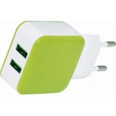 Зарядное устройство USB, 2 гнезда, бело-зелёный