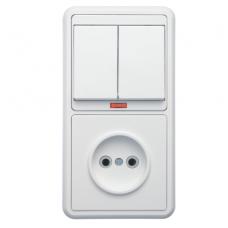 Блок розетки с выключателем Кунцево-Электро Бэлла БКВР-213 двухклавишный белый