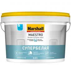 Краска для потолка Marshall Maestro Белый потолок Люкс глубокоматовая белая 2,5 л