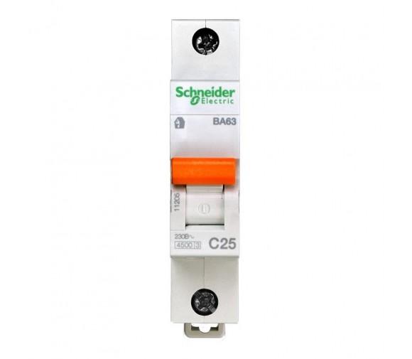 Автоматический выключатель Schneider Electric Домовой ВА63 1П C 25A 4,5кА